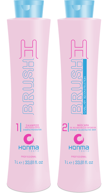 Купить HONMA TOKYO Набор для восстановления волос (шампунь 1000 мл, маска 1000 мл) H-Brush Botox Capilar