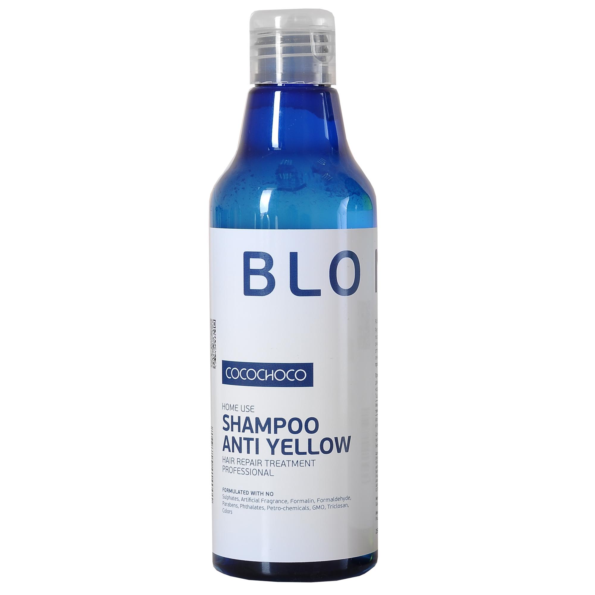 COCOCHOCO Шампунь для осветленных волос / BLONDE 250 млШампуни<br>Шампунь Blonde Shampoo Anti Yellow предназначен для ухода за блондированными волосами, а также применяется после процедуры кератинового восстановления волос, помогая максимально сохранить результат на длительный период времени. Шампунь мягко ухаживает за ослабленными после обесцвечивания волосами, обеспечивает бережное очищение и глубокое питание, восстанавливает структуру и обеспечивает нейтрализацию жёлтых пигментов, что помогает поддерживать холодные оттенки блонд. Волосы становятся более крепкими, здоровыми и ухоженными. Шампунь не содержит красителей, нейтрализация происходит за счет светоотражающих компонентов, поэтому он подходит для ежедневного использования. Способ применения: нанесите на влажные волосы массируя, равномерно распределите по волосам. Добавьте еще немного воды и помассируйте снова. Оставьте на 1-2 минуты. Тщательно смойте и повторите при необходимости. Активные ингредиенты: смягчение (масла): аргана, олива. Питание (экстракты): сверция японская, лопух, овес, алоэ. Восстановление (аминокислоты): гиалуроновая кислота, альгинаты, пантенол D-5, витамин Е. Уплотнение (протеины): протеин пшеницы, натуральный кератин, протеин сои, молочный казеин. Текстура: глицерид мускатного ореха, силанетриол, феноксиэтанол, бензиловый спирт, гидролизованный крахмал, триглицерид каприловой кислоты<br><br>Объем: 250 мл<br>Вид средства для волос: Кератиновая<br>Типы волос: Ослабленные