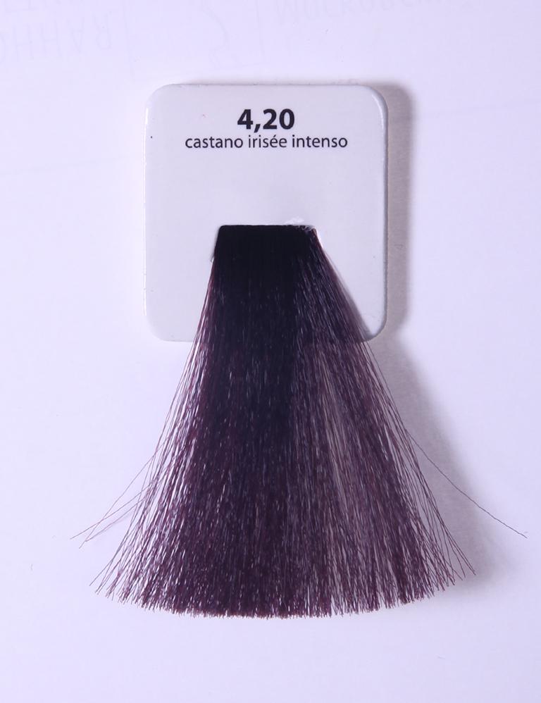 KAARAL 4.20 краска для волос / Sense COLOURS 100млКраски<br>4.20 интенсивный фиолетовый каштан Перманентные красители. Классический перманентный краситель бизнес класса. Обладает высокой покрывающей способностью. Содержит алоэ вера, оказывающее мощное увлажняющее действие, кокосовое масло для дополнительной защиты волос и кожи головы от агрессивного воздействия химических агентов красителя и провитамин В5 для поддержания внутренней структуры волоса. При соблюдении правильной технологии окрашивания гарантировано 100% окрашивание седых волос. Палитра включает 93 классических оттенка. Способ применения: Приготовление: смешивается с окислителем OXI Plus 6, 10, 20, 30 или 40 Vol в пропорции 1:1 (60 г красителя + 60 г окислителя). Суперосветляющие оттенки смешиваются с окислителями OXI Plus 40 Vol в пропорции 1:2. Для тонирования волос краситель используется с окислителем OXI Plus 6Vol в различных пропорциях в зависимости от желаемого результата. Нанесение: провести тест на чувствительность. Для предотвращения окрашивания кожи при работе с темными оттенками перед нанесением красителя обработать краевую линию роста волос защитным кремом Вaco. ПЕРВИЧНОЕ ОКРАШИВАНИЕ Нанести краситель сначала по длине волос и на кончики, отступив 1-2 см от прикорневой части волос, затем нанести состав на прикорневую часть. ВТОРИЧНОЕ ОКРАШИВАНИЕ Нанести состав сначала на прикорневую часть волос. Затем для обновления цвета ранее окрашенных волос нанести безаммиачный краситель Easy Soft. Время выдержки: 35 минут. Корректоры Sense. Используются для коррекции цвета, усиления яркости оттенков, создания новых цветовых нюансов, а также для нейтрализации нежелательных оттенков по законам хроматического круга. Содержат аммиак и могут использоваться самостоятельно. Оттенки: T-AG - серебристо-серый, T-M - фиолетовый, T-B - синий, T-RO - красный, T-D - золотистый, 0.00 - нейтральный. Способ применения: для усиления или коррекции цвета волос от 2 до 6 уровней цвета корректоры добавляются в краситель по Пра