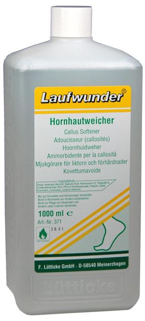 LAUFWUNDER Размягчитель для аппаратного педикюра 1000млРазмягчители для педикюра<br>Раствор для размягчения ороговелостей на стопах и руках. Действует только на омертвевшие клетки, не нарушая общее состояние нежной кожи ног. Не требует предварительного распаривания ног. Способ применения: нанести немного раствора на салфетку (лигнину) и приложить на всю стопу или необходимый участок для размягчения на 2-3 мин.<br><br>Объем: 1000