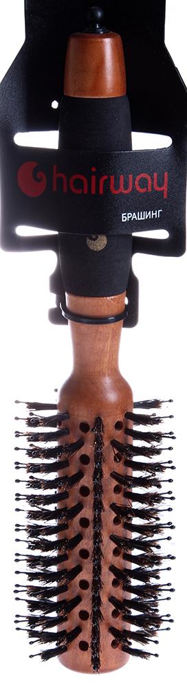 HAIRWAY Брашинг Profi деревянный, с отверстиями, натуральная щетина, черные штифты 28 мм