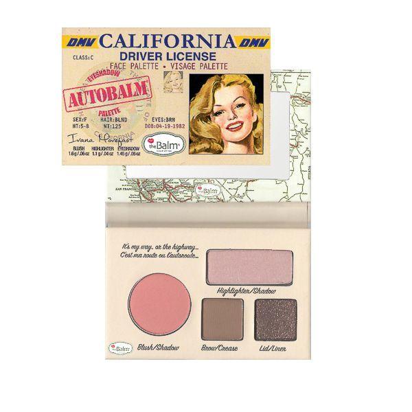 THE BALM Палетка теней / AutoBalm - CaliforniaРумяна<br>Палетка для макияжа AutoBalm- California. Компактная палетка для макияжа. Оформление   водительское удостоверение (DRIVER LICENSE). Зеркальце в комплекте  встроено  в карту штатов Гаваи (Hawaii) или Калифорнии (California). Очень условно палетки подобраны для девушек с голубыми (California) и с карими (Hawaii) глазами (см. изображение девушек на упаковке). Палетка включает: 1 румяна, 2 оттенка теней для век, 1 хайлайтер .<br>