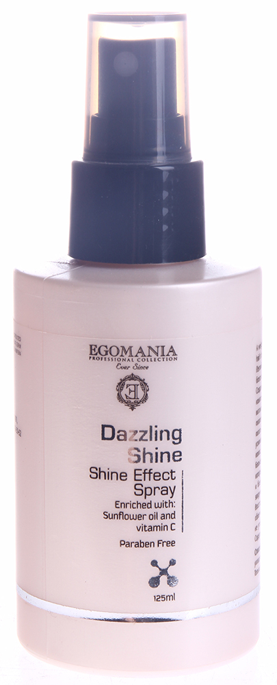 EGOMANIA Спрей для придания блеска волосам / DAZZLING SHINE 120млСпреи<br>Легкий, богатый питательными веществами спрей усиливает блеск и здоровый вид волос. Создан по уникальной формуле, включающей два активных компонента, усиливающих блеск &amp;ndash; масло подсолнечника и витамин C, которые известны высоким содержанием питательных веществ. Он разработан специально для того, чтобы питать ваши волосы, восполняя в них влагу. Спрей также усиливает отражающую способность тусклых или поврежденных волос, заставляя их сиять здоровьем. Большое количество минералов, витаминов и жирных кислот, которые содержатся в масле подсолнечника, усиливают яркость и блеск волос, предотвращают их сухость и излишнее закручивание, и делают волосы более послушными. Восстанавливает пористую структуру волос, придает блеск, облегчает расчесывание, предотвращает электризацию волос, не утяжеляя их.  Подходит для ежедневного применения. Содержит минералы и воду Мертвого моря.  Активные ингредиенты: Гидролизованный шелк, масло подсолнечника , витамин C, масло жожоба, масло виноградных косточек, масло зародышей пшеницы.  Способ применения: Наносить на влажные волосы перед укладкой.<br>