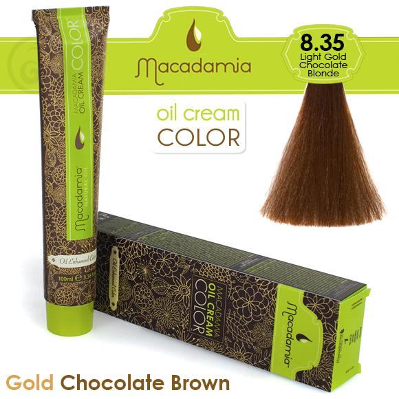 MACADAMIA Natural Oil 8.35 краска для волос / MACADAMIA COLORS 100млКраски<br>8.35 светлый золотистый шоколадный блондинПрофессиональный кремообразный краситель на основе масла макадамии сохраняет волосы здоровыми, живыми, мягкими и блестящими. Уникальная и хорошо продуманная формула красителя обеспечивает четкие, предсказуемые, последовательные и стойкие результаты. Основа красителя - масла макадамии и арганы, которые проникают в структуру волос для сохранения целостности структуры, восстановления и укрепления. Комбинация всех ингредиентов красителя создает яркие, роскошные оттенки с потрясающей стойкостью. Все цвета можно смешивать между собой, создавая бесконечное множество оттенков. С этим красителем каждый стилист может выйти за рамки повседневности, позволяя своему воображению воплощать в жизнь любые творческие идеи. Преимущества: Прост в применении Удобен в работе как для начинающего мастера, так и для опытного стилистаУникальная и хорошо продуманная формула красителя обеспечивает чёткие и предсказуемые результаты окрашиванияЭкономичен в работе Пропорция смешивания красителя с окислителем от 1 к 1.5 до 2.5 позволяют сократить расход красителя на каждого клиентаУвеличенная стойкость цвета Благодаря уменьшенному размеру, пигменты и масла способны более глубоко проникать в кортекс волоса и удерживаться там на более длительный срокВходящие в состав масла, служат проводником пигментов в кортекс волосаМногообразие оттенков Богатая палитра из 92 оттенковМножество модных и актуальных оттенков, таких как нейтрально-коричневый, бежевый, шоколадно-коричневые и т.д. Создание цвета и СПА уход в одном флаконе Результат окрашивания   стойкие, красивые и насыщенные оттенки. Уникальная комбинация пигментов и масел дополнительно увлажняет волосы и позволяет минимизировать вред, наносимый окрашиванием. Активные ингредиенты: масло макадамии, масло арганы.<br><br>Цвет: Бежевый и коричневый