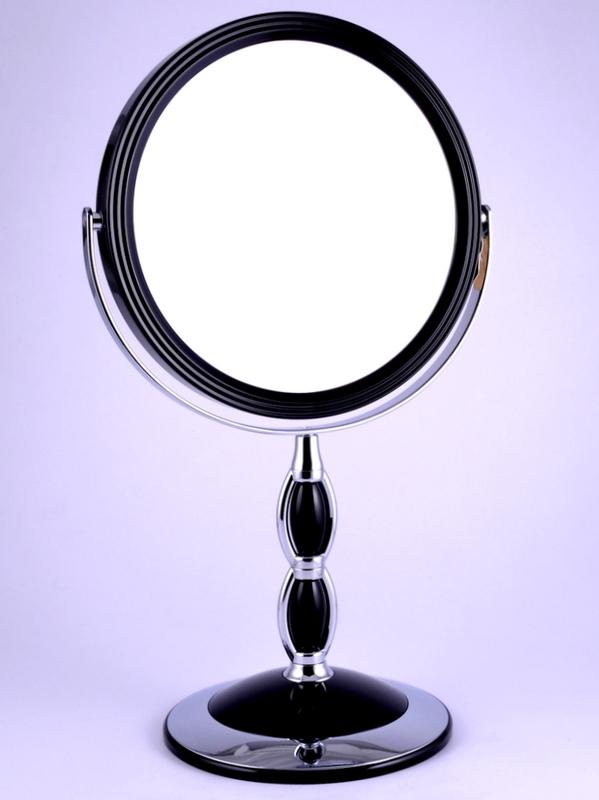 "WEISEN Зеркало настольное круглое 2х стороннее 7-кр. ув. 18 см / B7""8066 BLK/C Black"