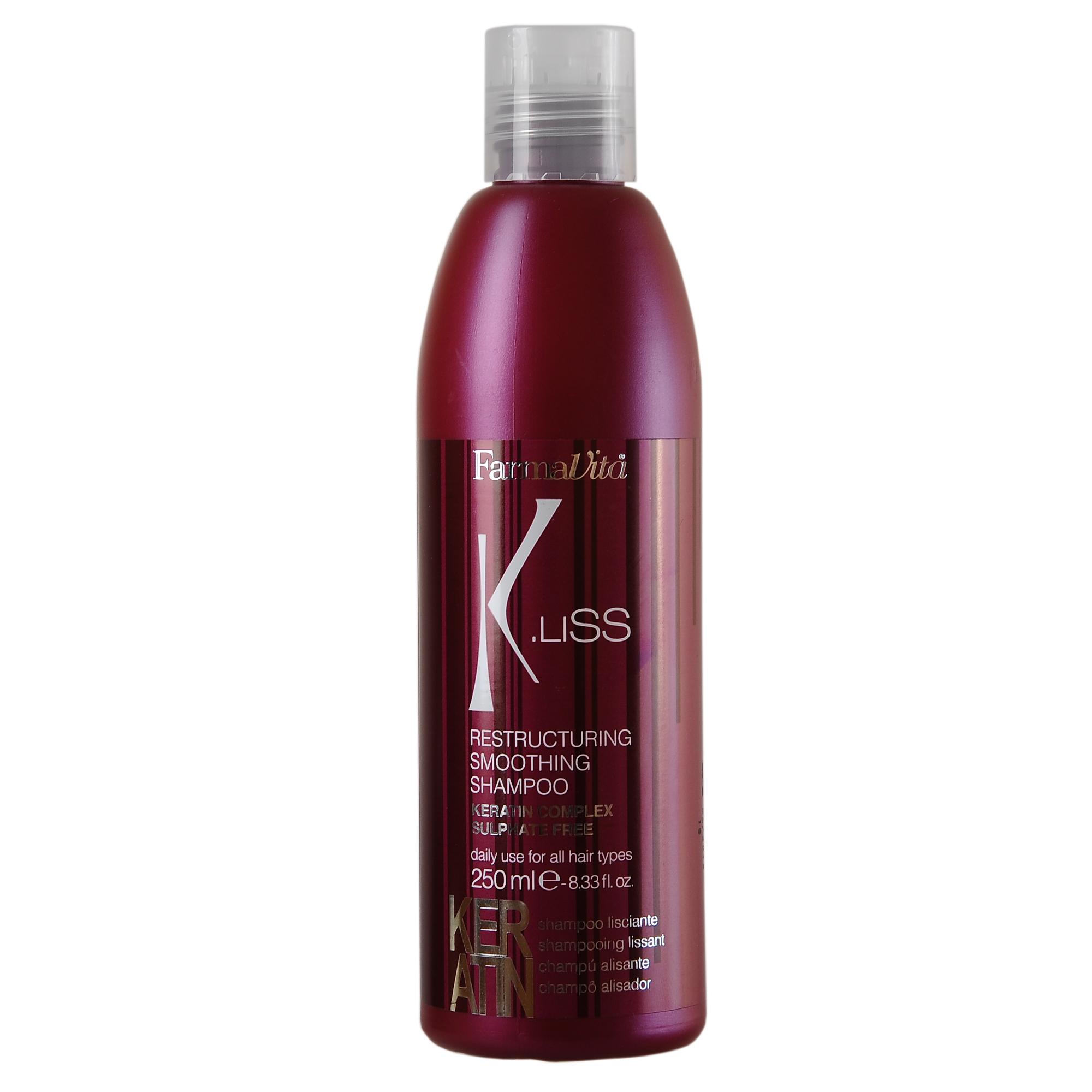FARMAVITA Шампунь реструкт. с кератином K.Liss Restructuring smoothing shampoo / K.LISS 250 млШампуни<br>Шампунь с кератином K.LISS. Реструктуризирующий (перестраивающий структуру волос) шампунь для волос с кератином. Обладает эксклюзивной безсульфатной формулой. Предназначен для интенсивного ухода, поддерживает структуру волос в идеальном состоянии и насыщает их влагой. Мягко очищает и питает, придавая волосам мягкость и блеск. Продлевает эффект выпрямления. Регулярное применение шампуня делает волосы сильными и здоровыми. Способ применения: нанести на ладони небольшое количество шампуня, взбить в легкую пену. Равномерно распределить шампунь по всей длине волос. Помассировать кожу головы примерно 30 секунд. Смывать не менее 2 минут. При необходимости повторить процедуру.<br><br>Объем: 250 мл