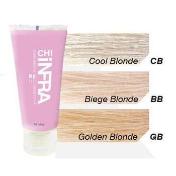 CHI BB краска для волос закрашивающая / ЧИ ИНФРА 120гр~Краски и корректоры<br>Осветляющая крем-краска BB Бежевый Блондин Чи Инфра закрашивающая не содержит аммиак и используется для полного окрашивания и мелирования волос. Крем-краска обеспечивает максимальное закрашивание, в один прием осветляет и тонирует волосы до 8 уровней. Краска обеспечивает получение нужного цвета на 100%. Используется для окрашивания волос с любого уровня, а также для ранее окрашенных волос. В основе краски - революционный комплекс от научного центра FAROUK SYSTEMS, придающий волосам здоровый, естественный блеск после окрашивания. Комплекс керамики CH44 обеспечивает высокую стойкость краски (до 5 недель) и потрясающий блеск. Наличие шелковых компонентов оздоравливает волосы, нейтрализует воздействие химических составляющих красителя, сокращает время сушки примерно на 50%. Крем-краска Чи Инфра смешивается с CHI Оксидом Генератором 10 VOL. Для завершения процедуры и закрепления цвета рекомендуется применять Кондиционер CHI Color Lock. Результат. CHI Infra No Lift BB Бежевый Блондин позволяет получить нужный цвет волос без нежелательных теплых оттенков, придает естественный блеск.  Активный состав: Аквамариновый пигмент, красящие пигменты, оливковое масло, кератин.  Применение: Согласно инструкции.<br><br>Цвет: Блонд