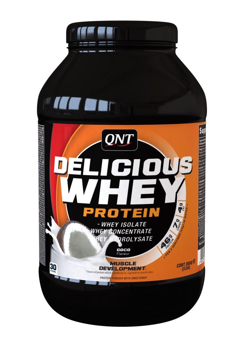 Купить QNT Добавка биологически активная к пище Делишес вей протеин, кокос / Delicious Whey Protein Powder Coco 908 г