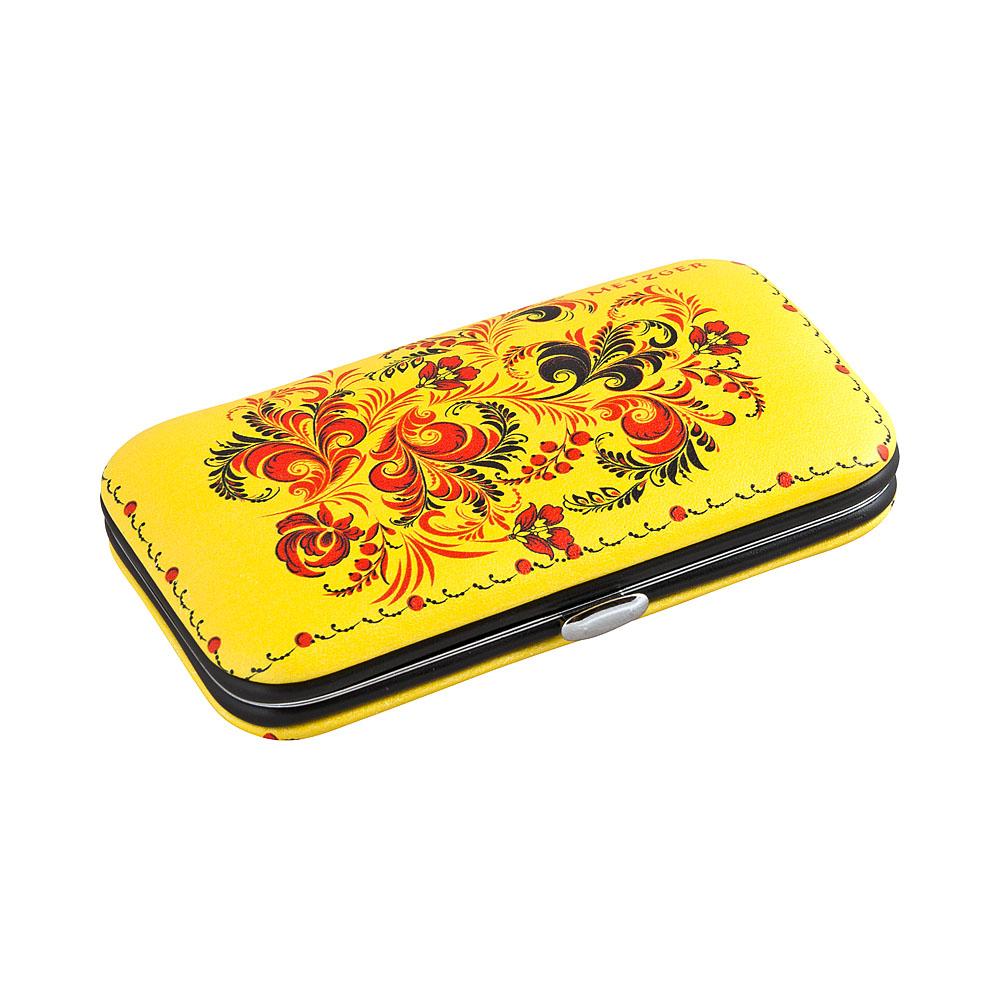 METZGER Набор маникюрный Желтый с черно-красными листьями MS-3957(7)-SMALL, 6 предметов от Галерея Косметики