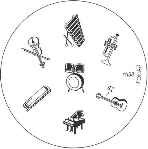 KONAD Форма печатная (диск с рисунками) / image plate M58 10грСтемпинг<br>Диск для стемпинга Конад М58 c музыкальными инструментами. Пианино, скрипка, гитара, барабаны и другие. Несколько видов изображений, с помощью которых вы сможете создать великолепные рисунки на ногтях, которые очень сложно создать вручную. Активные ингредиенты: сталь. Способ применения: нанесите специальный лак&amp;nbsp;на рисунок, снимите излишки скрайпером, перенесите рисунок сначала на штампик, а затем на ноготь и Ваш дизайн готов! Не переставайте удивлять себя и близких красотой и оригинальностью своего маникюра!<br>