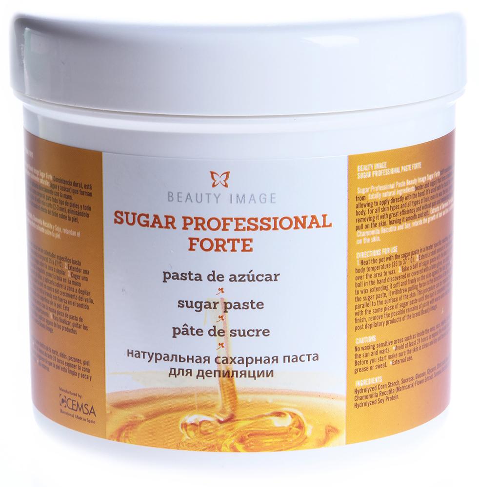 BEAUTY IMAGE Паста сахарная натуральная Sugar Professional Forte плотной консистенции для депиляции 600грСахарные пасты<br>Эластичная и экономичная сахарная паста плотной консистенции. Рекомендуется для жестких волос на деликатных зонах с повышенным потоотделением: бикини, подмышечные впадины, лицо. Пасту можно добавлять в более мягкие консистенции для их уплотнения. Подходит для работы при высокой температуре и влажности воздуха. Паста хорошо распределяется на коже, не прилипает к обрабатываемой поверхности, легко удаляется. Помимо удаления нежелательных волос сахарная паста Бьюти Имидж оказывает комплексное воздействие: удаляет омертвевшие частички эпидермиса, оказывая эффект пилинга, увлажняет и смягчает кожу в зоне депиляции, предотвращает раздражение и врастание волос под кожу. А фитоэкстракты растений &amp;#40;сереноя ползучая, ромашка&amp;#41; и протеины сои действуя избирательно на волосяной фолликул замедляют рост нежелательных волос, продлевают время между процедурами.<br><br>Объем: 600<br>Вид средства для тела: Сахарный