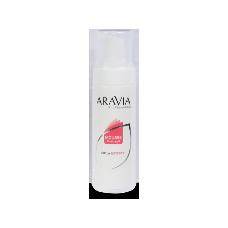 ARAVIA Мусс с экстрактом хлопка после депиляции 160млМуссы<br>Мягкий мусс после депиляции ARAVIA с экстрактом хлопка специально разработан для предания коже гладкости. Мусс прекрасно увлажняет кожу, снимает раздражение и покраснение, придает коже мягкость и эластичность. Воздушная структура мусса легко впитывается, не оставляя жирного блеска, и его можно применять для ежедневного ухода за кожей рук и ног. Мусс после депиляции ARAVIA подходит для самой чувствительной кожи.&amp;nbsp; Активные ингредиенты:&amp;nbsp; Экстракт хлопка - улучшает защитные функции кожи: регенерируя, повышая упругость и разглаживая ее. Позволяет снизить реактивность кожи, повышая эффективность механизмов самозащиты. Экстракт дает непревзойденное чувство гладкости, увлажнения и прохлады на весь день. Экстракт хлопка богат сахарозой и протеинами.&amp;nbsp; Протеины отлично смягчают кожу, а сахароза обеспечивает глубокое увлажнение, что защищает от пересушивания эпидермиса.&amp;nbsp; Способ применения: Использовать сразу после депиляции. Нанести небольшое количество мусса на зону после депиляции и легкими массажными движениями распределить его по коже.<br>