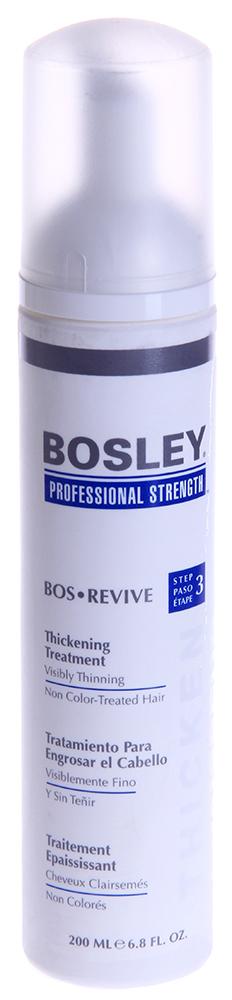 BOSLEY Уход увеличивающий густоту истонченных неокрашенных волос / ВОS REVIVE (step 3) 200млКонцентраты<br>Ежедневный несмываемый омолаживающий и питательный уход для заметно истонченных волос.   Действие: Восстанавливает и омолаживает волосы и кожу головы благодаря Комплексу LifeXtend&amp;trade;, помогая уменьшить действие ДГТ. Утолщающая технология добавляет силу и невесомый объем. Активные ингредиенты: LifeXtend  Комплекс. Экстракт Планктона. Аминокислоты Сои. Способ применения: Наносить ежедневно на кожу головы и волосы после применения Шампуня Питательного и Кондиционера Для Объема. Не смывать! Может вызвать временное покраснение кожи головы.<br><br>Назначение: Выпадение
