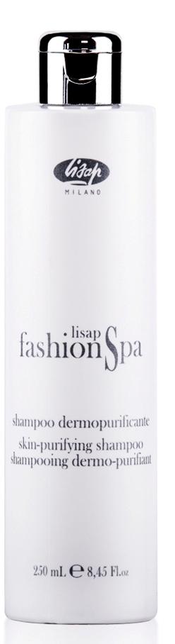 LISAP MILANO Шампунь для очищения кожи головы / FASHION SPA 250млШампуни<br>Содержит смесь эфирных масел розмарина, чабреца и лимона, которые комплексно питают, увлажняют и глубоко очищают волосы и кожу головы. Успокаивает сверхчувствительную кожу и снимает зуд. Рекомендован для чувствительных волос и кожи головы. Особо сбалансированный уровень pH позволяет обеспечить объем и эластичность волос. Активные ингредиенты: смесь эфирных масел розмарина, чабреца, лимона. Способ применения: нанести небольшое количество шампуня на влажные волосы, мягко промассировать, а затем смыть большим количеством воды. Повторить нанесение и оставить шампунь на волосах на 2 минуты перед окончательным ополаскиванием. Убрать лишнюю влагу полотенцем.<br><br>Тип кожи головы: Чувствительная