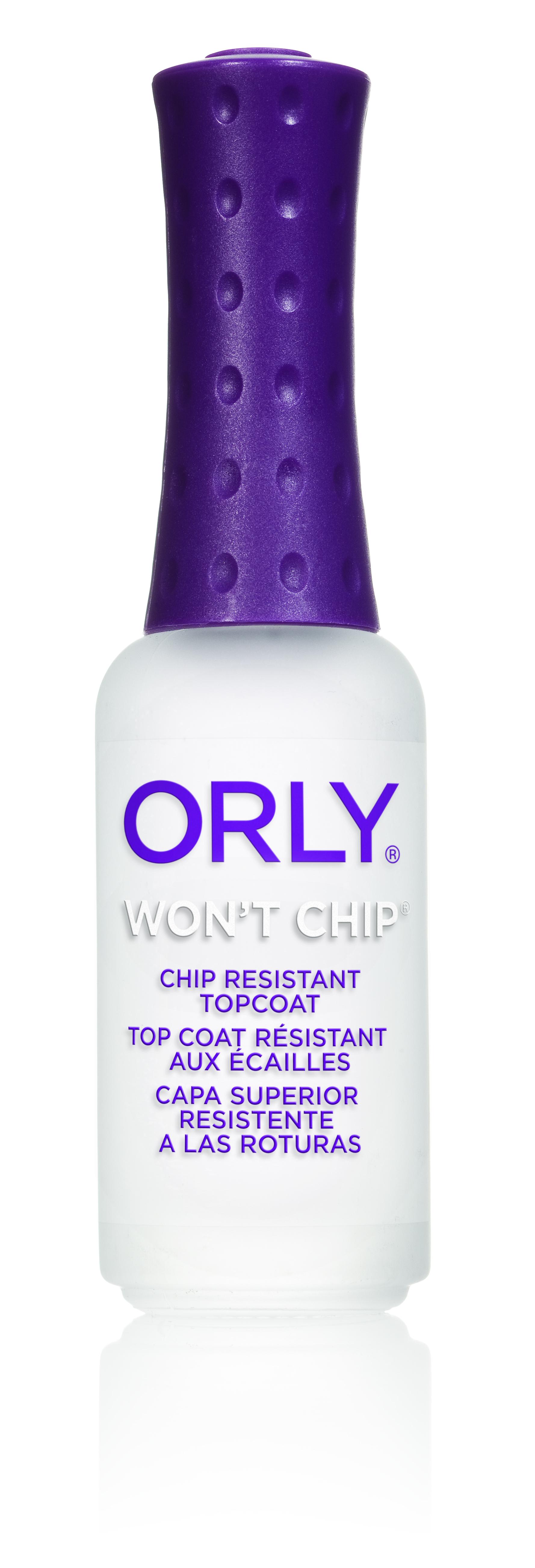 ORLY Покрытие для ногтей верхнее закрепляющее / Wont Chip .3 oz 9млВерхние покрытия<br>Прочное верхнее покрытие Wont Chip с полимерной защитой, которое предохраняет и ноготь, и лак на ногте, а также придает дополнительный блеск. Предотвращает отслаивание и скалывание лака в течение 2-х недель. Способ применения: нанесите 1-2 слоя Wont Chip на высохшую лаковую поверхность по аналогии с любым верхним покрытием. С чем использовать: используйте в качестве базового покрытия основу Nail Armor или NailTrition для более прочного маникюра, а средство Wont Chip закрепит лак. Активные ингредиенты. Состав: Метилэтилкетон, изопропил ацетат, бутилацетат, нитроцеллюлоза, ацетат пропионат целлюлозы, акрилат сополимер, сахарозы ацетоизобутират.<br><br>Объем: 9 мл<br>Виды лака: Глянцевые