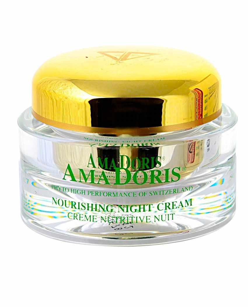 AMADORIS Крем витаминно-увлажняющий ночной 50млКремы<br>Этот высокоэффективный крем состоит из растительных и биотехнологических компонентов, которые регенерируют Вашу кожу во время сна, а также насыщают её всеми необходимыми витаминами. После нанесения крема Ваша кожа испытает состояние комфорта и нежности, исчезнет чувство стягивания, и значительно улучшится её микрорельеф. При этом кожа станет более эластичной, а цвет лица лучистым и светлым. Активные ингредиенты: Протеины из сои и подсолнечника, пререген, иммусель, гуалуроновая кислота, фукогель, Д-пантенол, пентавитин, витамины А, Е, каррагенан, экстракты: алоэ-вера, эдельвейса, женьшеня. Способ применения: Наносить вечером на очищенную кожу лица лёгкими круговыми движениями до полного впитывания.<br><br>Объем: 50<br>Вид средства для лица: Увлажняющий<br>Время применения: Ночной