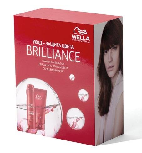 WELLA Набор BRILLIANCE для окрашенных нормальных и тонких волос (шампунь 250 мл, бальзам 200 мл) / WELLA