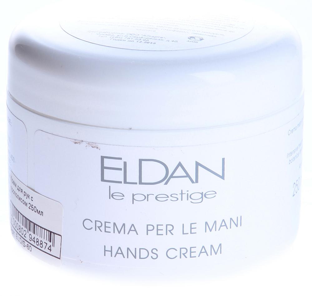 ELDAN Крем с прополисом для рук / LE PRESTIGE 250млКремы<br>Тип кожи: сухая, очень сухая, нормальная, для всех типов кожи Действие: Крем положительно влияет на ногтевой матрикс, что стимулирует здоровый рост ногтей. Оказывает антиоксидантную защиту, повышает сопротивляемость кожи рук и ногтей к внешним раздражителям. Кроме того, обладает ранозаживляющим действием, предупреждает появление трещин, сухости, шершавости и грубости кожи рук, а также превосходными смягчающим, увлажняющим и заживляющим действиями. В результате применения кожа становится нежной, гладкой и здоровой. Зарекомендовал себя для кожи поражённой экземой, нейродермитом, псориазом. Активные ингредиенты: Масло душистого миндаля, масло ши, экстракт прополиса, токоферол, лимонная кислота. Способ применения: Наносить крем массирующими движениями до полного впитывания.<br><br>Вид средства для тела: Увлажняющий<br>Назначение: Трещины