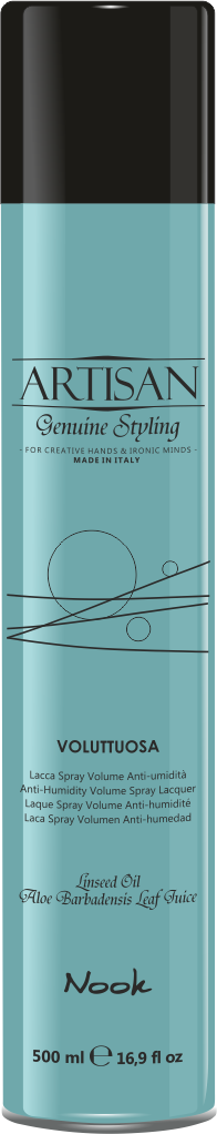 NOOK Лак для придания объема волосам / Voluttuosa Volume Spray Lacquer ARTISAN 500 млЛаки<br>Аэрозольный лак для волос с фактором фиксации 3. Лак придает волосам дополнительный объем и шелковистый блеск. Не склеивает волосы, не пылит, обеспечивает дополнительную защиту укладки. Активные ингредиенты: Алкоголь Denat . Бутан, изобутан, Пропан, Акрилаты Сополимер , Гидроксид калия, Парфюм .<br>