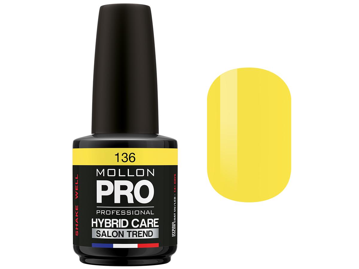 MOLLON PRO Гель-лак для ногтей HybridCare Salon Trend UV/LED / Color Coat  136 12млГель-лаки<br>Гель-лак для ногтей HybridCare Salon Trend UV/LED. Активные ингредиенты: Состав/Ingredients: TETRAHYDROFURFURYL METHACRYLATE, DI-HEMA TRIMETHYLHEXYL DICARBAMATE, PPG 5 METHACRYLATE, HEMA, HYDROXYPROPYL METHACRYLATE, BUTYL ACETATE, ETHYL ACETATE, ACETONE, NITROCELLULOSE, TRIMETHYLBENZOYL DIPHENYLPHOSPHINE OXIDE, 1-HYDROXYCYCLOHEXYL PHENYL KETONE, PHTHALIC ANHYDRIDE/TRIMELLITIC ANHYDRIDE/GLYCOL COPOLYMER, ISOPROPYL ALCOHOL, CI 77891, CI 77491, CI 75470, CI 77510, CI 77499, CI 77000, CI 19140, CI 15880, CI 15850, CI 15850, CI 12085, CI 73360, CI 77007, CI 42090, CI 77742, CI 77266, CI 77163, POLYETHYLENE TEREPHTHALATE, ISOBUTYLPHENOXY EPOXY RESIN, POLYURETHANE -11, STEARALKONIUM HECTORITE, ADIPIC ACID/FUMARIC ACID/PHTHALIC, ACID/TRICYCLODECANE DIMETHANOL COPOLYMER, CITRIC ACID, STYRENE/ACRYLATES COPOLYMER, ACETYL TRIBUTYL CITRATE, PHOSPHORIC ACID. Способ применения: нанести два слоя гель-лака на обезжиренную ногтевую пластину. Полимеризировать каждый слой 2 мин. в лампе УФ или 1 мин. в LED лампе.<br><br>Цвет: Желтые