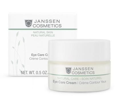 JANSSEN Крем разглаживающий и укрепляющий для ухода за кожей вокруг глаз / Eye Care Cream BIOCOSMETICS 15млКремы<br>Деликатно ухаживает за нежной кожей вокруг глаз, в том числе чувствительной. Увлажняет и смягчает, уменьшает темные круги под глазами, снимает отечность. При регулярном применении морщины разглаживаются, структура кожи улучшается. Eye Care Cream прошел дерматологическое тестирование. Активные ингредиенты: экстракт очанки, экстракт конского каштана*, гиалуроновая кислота с короткой и длинной цепью, эктоин, экстракт люцерны*, экстракт белого люпина, масло аргании*. * Выращено на экологически чистых плантациях. Способ применения: после очищения нанесите Eye Care Cream на кожу вокруг глаз. Дайте впитаться и, при желании, выполните макияж. В салоне применять согласно регламенту ухода.<br><br>Типы кожи: Чувствительная