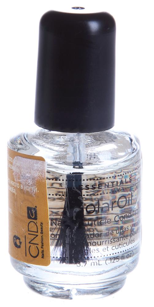 CND Масло для кутикулы / SOLAR OIL 3,7млДля кутикулы<br>Непревзойденная композиция из масел сладкого миндаля, рисовых отрубей, жожоба и витамина Е. Продукт придает натуральным и искусственным ногтям необходимую гибкость, ускоряет процесс полимеризации. Применяется как средство профессионального и домашнего ухода. Уникальный состав способствует быстрому размягчению и питанию кутикулы, что дает отличный результат при маникюре. Масло является прекрасным средством для полировки, склеивания (запечатывания) чешуек ногтя между собой, что, безусловно, способствует его укреплению. Способ применения: Нанесите масло на кутикулу и ногти. Проникая между чешуйками ногтей, масло склеивает их между собой и делает более плотными. Отполируйте их для придания блеска.<br><br>Типы ногтей: Нормальные