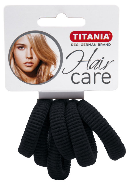 Резинки для волос, черные 3,5 см 6 шт/уп 7871