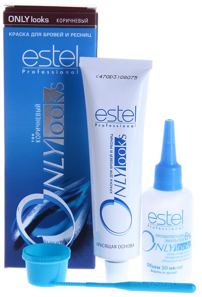 ESTEL PROFESSIONAL Краска для бровей и ресниц коричневый / Estel Only LooksКраски для бровей<br>Оттенок: Коричневый. Специальная краска ESTEL ONLY looks благоприятна для чувствительной кожи вокруг глаз, не содержит парфюмерных масел, имеет мягкую, удобную в обращении консистенцию и нейтральную величину pH. Полученный оттенок держится около 3-4 недель. Одной упаковки краски хватит для многократного использования в течение примерно 1 года. В комплект входит: туба с крем-краской мл, флакон с проявляющей эмульсией, баночка для смешивания, палочка для размешивания и нанесения Способ применения: Крем-краска смешивается в определенной пропорции с проявляющей эмульсией в мисочке для краски, размешивается палочкой или лопаточкой, затем наносится на подготовленные брови и/или ресницы.<br><br>Объем: 30