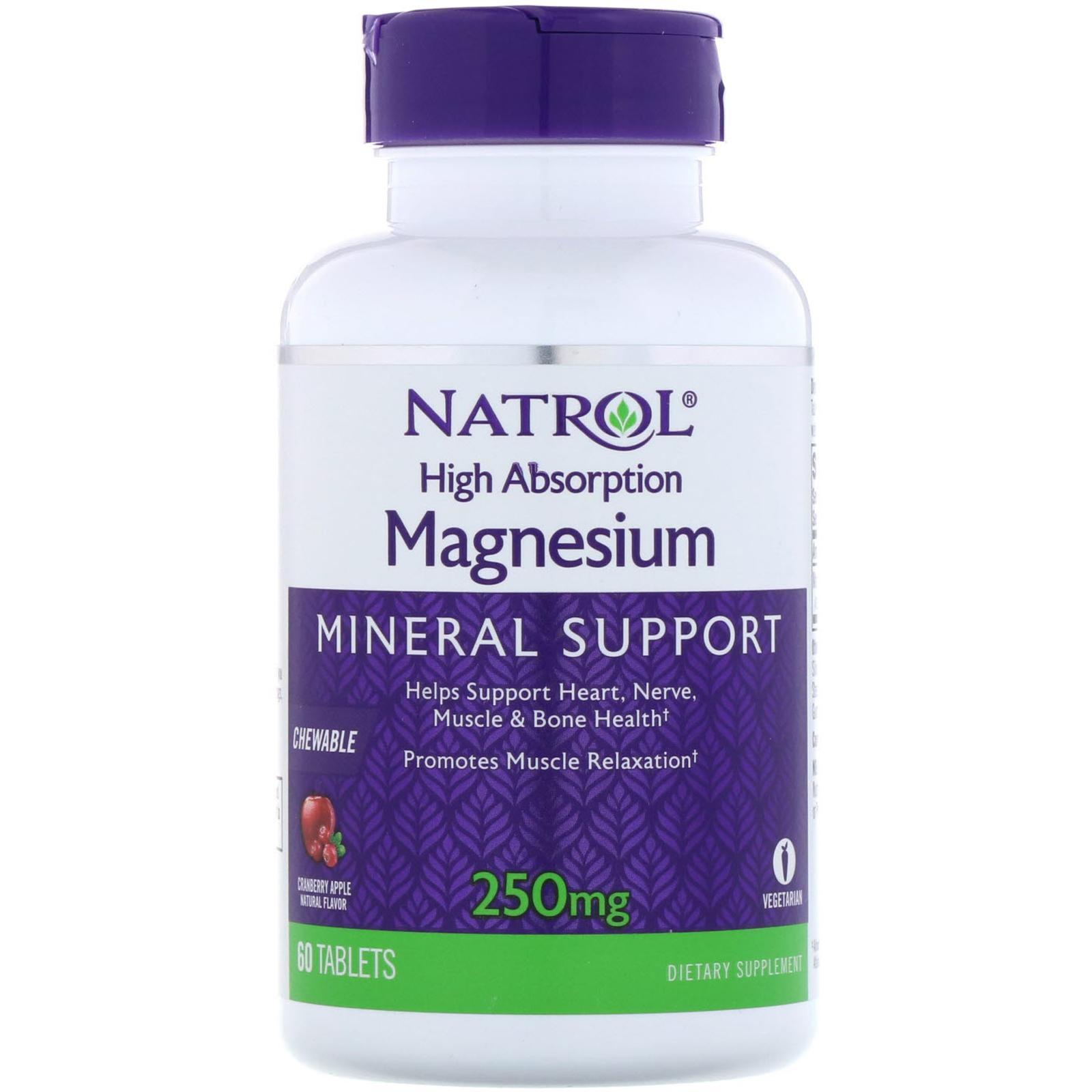 Купить NATROL Добавка биологически активная к пище Натрол магнезиум / High Absorption Magnesium 60 жевательных таблеток