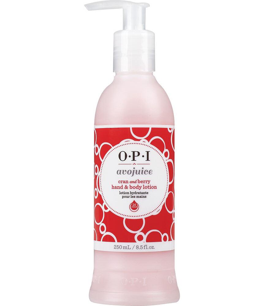 OPI Лосьон для рук Клюквенный сок / AVOJUICE 250млЛосьоны<br>Лосьоны Аводжус обеспечат необходимый тонус вашей коже и защиту от токсинов на весь день. Натуральные фруктовые и растительные экстракты мгновенно увлажняют и питают кожу, витамины-антиоксиданты предотвращают ее старение. Формула лосьона быстро абсорбируется поверхностью кожи, делая ее шелковистой и мягкой.<br><br>Назначение: Старение
