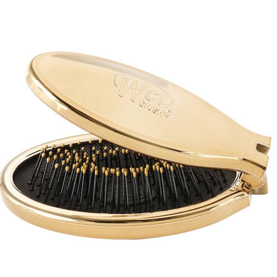 Купить Wet Brush Щетка-мини для спутанных волос раскладная, золото / WETBRUSH MINI POP FOLD GOLD