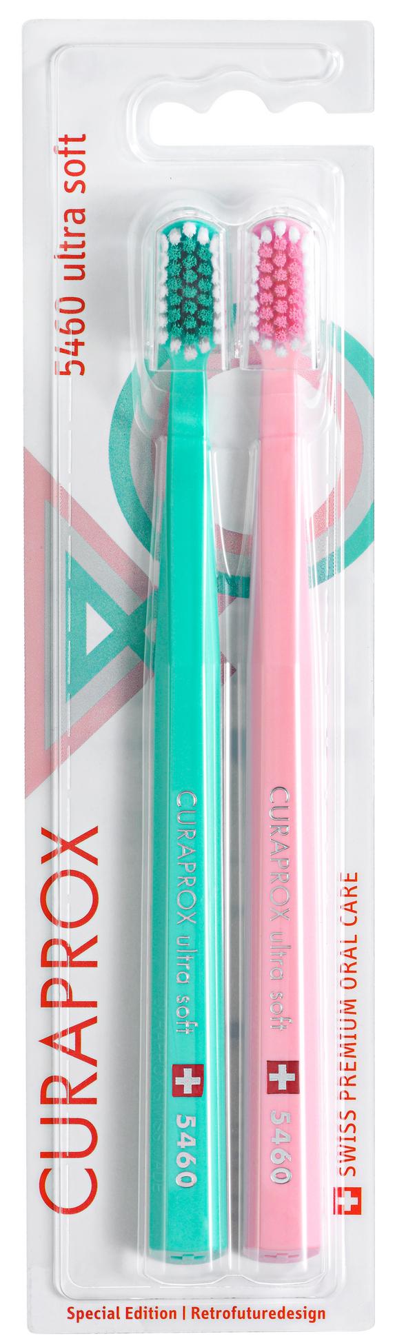 Купить CURAPROX Набор зубных щеток ultrasoft, d 0.10 мм, зеленая и розовая / Retro Edition2 2 шт