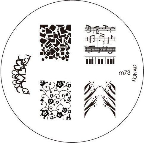 KONAD Форма печатная (диск с рисунками) / image plate M73 10грСтемпинг<br>Диск для стемпинга Конад М73 с великолепными узорами из музыкальных нот, цветов и абстракций. Несколько видов изображений, с помощью которых вы сможете создать великолепные рисунки на ногтях, которые очень сложно создать вручную. Активные ингредиенты: сталь. Способ применения: нанесите специальный лак&amp;nbsp;на рисунок, снимите излишки скрайпером, перенесите рисунок сначала на штампик, а затем на ноготь и Ваш дизайн готов! Не переставайте удивлять себя и близких красотой и оригинальностью своего маникюра!<br>