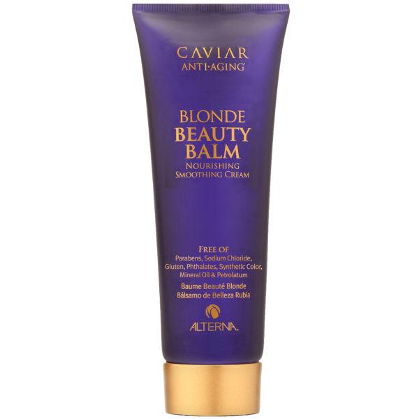 ALTERNA Крем красоты для светлых волос / Caviar Anti-aging Brightening Blonde Beauty Balm 125млКремы<br>Разглаживающий лосьон усиливающий глубину цвета и придающий зеркальное сияние светлым волосам, идеально подходит как для натуральных оттенков блонд, так и для окрашенных. В состав входят: масло дерева ШИ, ромашка, лимон и мед, а так же экстракт морских водорослей и черной икры, защищает от ультрафиолетового воздействия, от воздействия высоких температур при укладке, одновременно питая, увлажняя и предотвращая ломкость волос. Активные ингредиенты: масло дерева ши, ромашка, лимон, мед, экстракты морских водорослей, черной икры. Способ применения: равномерно распределить средство на влажные, подсушенные полотенцем волосы и уложить по желанию. Для придания более глубокого блеска и разглаживающего эффекта, можно нанести средство на сухие волосы.<br><br>Цвет: Блонд<br>Вид средства для волос: Разглаживающий