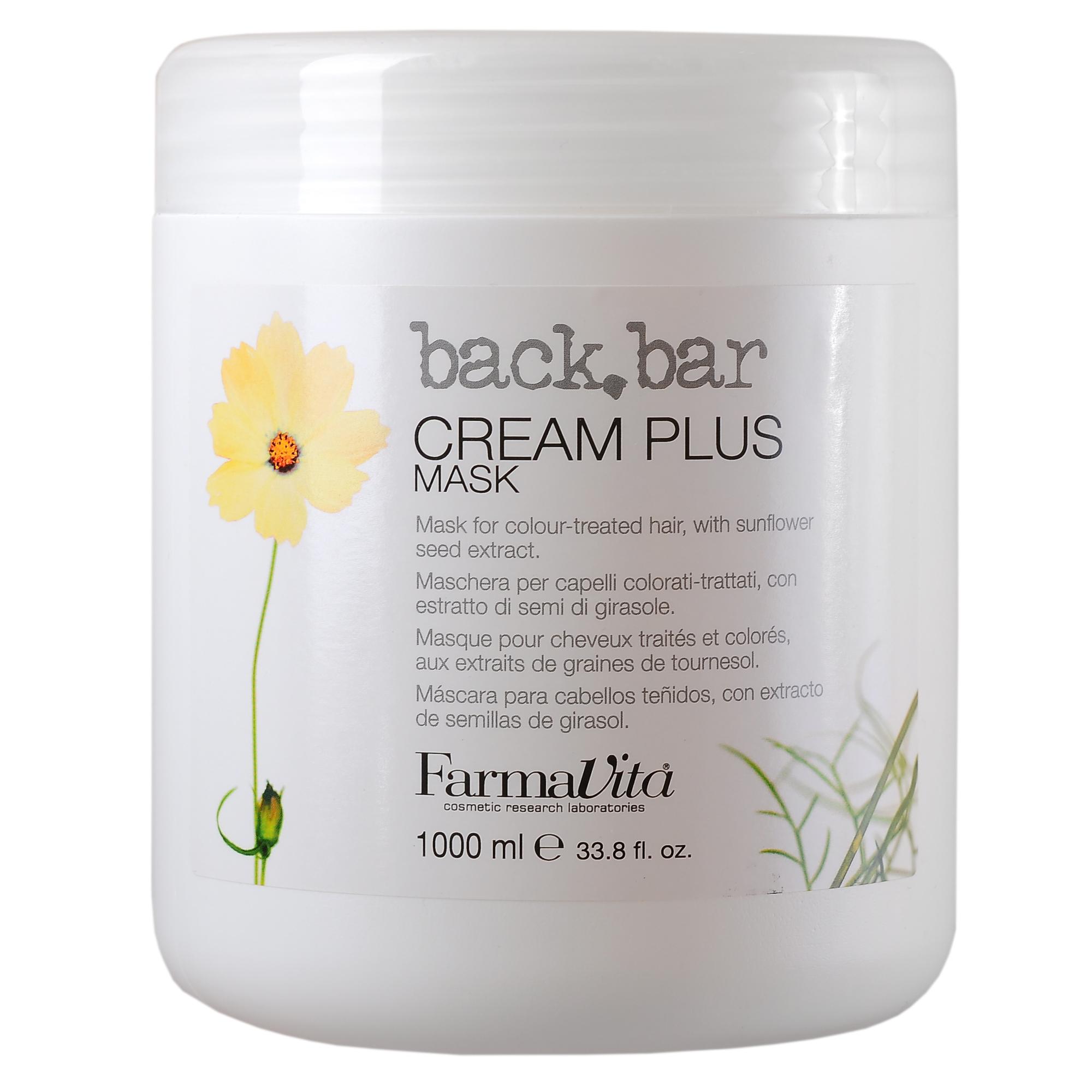 FARMAVITA Крем легкий защитный Cream Plus Mask / BACK BAR 1000 млКремы<br>Защищает волосы от действия свободных радикалов и восстанавливает структуру после воздействия УФ лучей, а так же после окрашивания и химической завивки. Защищает от потери цвета натуральные и окрашенные волосы. Активные ингредиенты: УФ-фильтры Способ применения: равномерно нанесите маску Бэк бар крем плюс на предварительно вымытые и подсушенные полотенцем волосы. Распределите по всей длине волос при помощи гребня. Оставьте на 2-3 минуты, после чего тщательно смойте и выполните укладку.<br><br>Объем: 1000 мл<br>Типы волос: Окрашенные