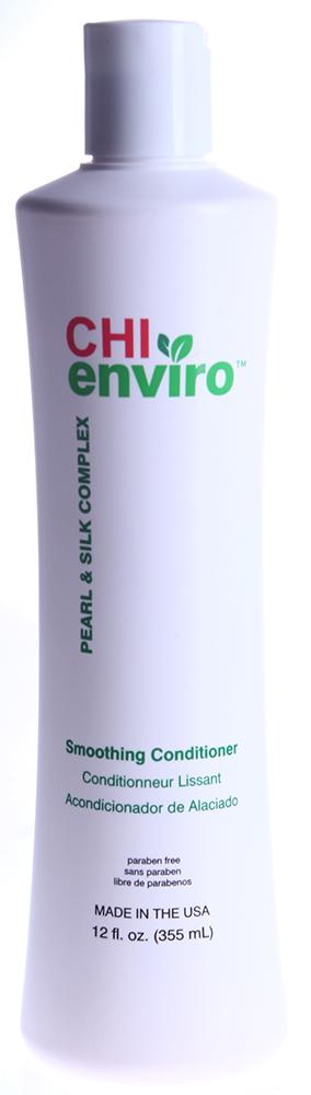 CHI Кондиционер разглаживающий Чи Энвайро 355млКондиционеры<br>Для всех типов волос, нуждающихся в ежедневном увлажнении. Без парабенов. Устраняет спутанность и облегчает расчесывание. Помогает продлить результат. Ph сбалансированный, pH=2.0-2.5. Активные ингредиенты: протеины шелка, жемчужный комплекс.<br><br>Вид средства для волос: Разглаживающий<br>Назначение: Секущиеся кончики