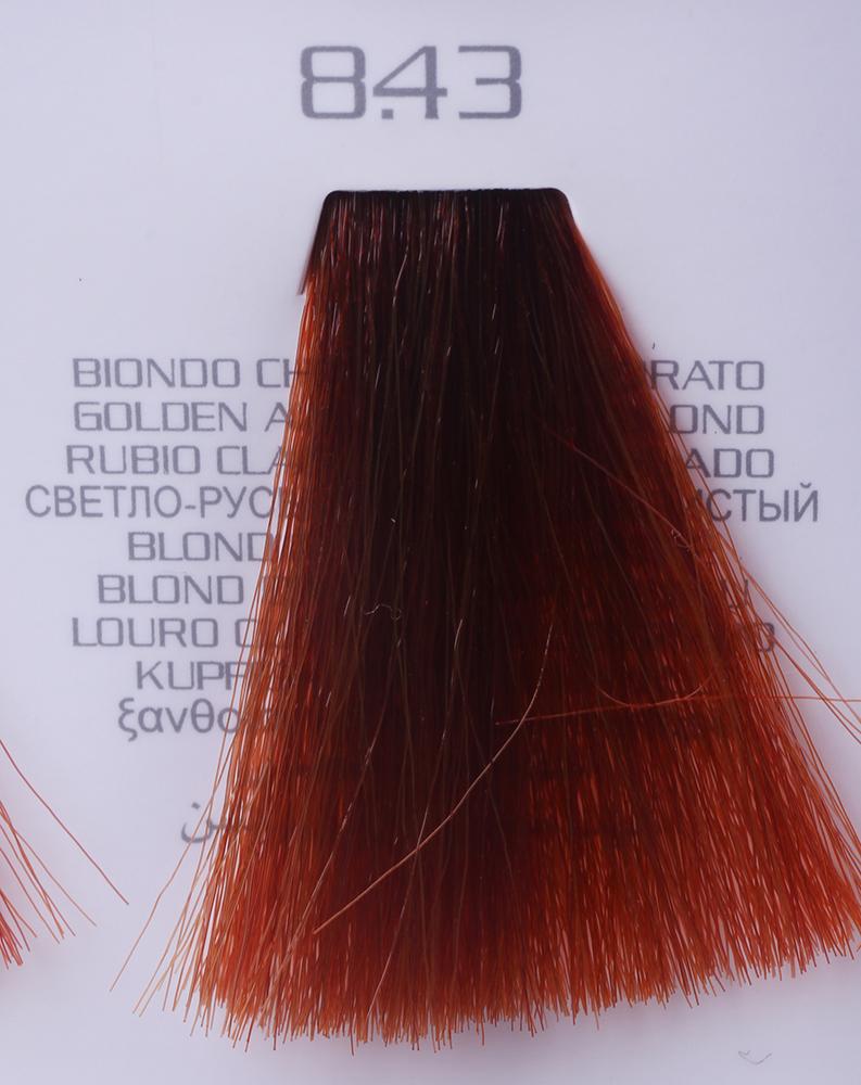 HAIR COMPANY 8.43 краска для волос / HAIR LIGHT CREMA COLORANTE 100млКраски<br>8.43 светло-русый медный золотистыйHair Light Crema Colorante   профессиональный перманентный краситель для волос, содержащий в своем составе натуральные ингредиенты и в особенности эксклюзивный мультивитаминный восстанавливающий комплекс. Минимальное количество аммиака позволяет максимально бережно относится к структуре волоса во время окрашивания. Содержит в себе растительные экстракты вытяжку из арахиса, лецитин, витамин А и Е, а так же витамин С который является природным консервантом цвета. Применение исключительно активных ингредиентов и пигментов высокого качества гарантируют получение однородного, насыщенного, интенсивного и искрящегося оттенка. Великолепно дает возможность на 100% закрасить даже стекловидную седину. Наличие 6-ти микстонов, а так же нейтрального бесцветного микстона, позволяет достигать получения цветов и оттенков. Способ применения: смешать Hair Light Crema Colorante с Hair Light Emulsione Ossidante в пропорции 1:1,5. Время воздействия 30-45 мин.<br><br>Вид средства для волос: Восстанавливающий<br>Класс косметики: Профессиональная