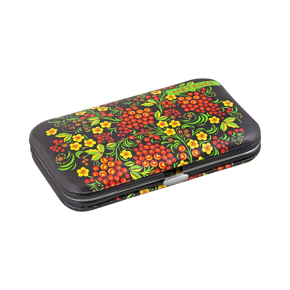 METZGER Набор маникюрный Черный с красными ягодами MS-3957(6)-SMALL, 6 предметов