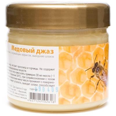 AROMA JAZZ Масло массажное твердое для тела Медовый джаз 300грМасла<br>Абсорбирует токсины и способствует быстрому выведению их из организма, впитывает кожные выделения, оказывает обеззараживающее действие, придает коже свежесть и бархатистость, сглаживает морщины. Кроме фитогормональных и биоактивных свойств, &amp;laquo;Медовый джаз&amp;raquo; имеет способность смягчать кожу и увеличивать приток крови к кожному покрову, улучшая его питание. Отлично дезинфицирует, повышает тонус, разглаживает морщины, придает коже свежесть и бархатистость. Божественный нектар, целебное лакомство, приготовленное заботливой матерью природой. Мед с прополисом &amp;ndash; кладезь витаминов, минералов и микроэлементов. Мягкий согревающий запах ласкает кожу и поднимает настроение. &amp;laquo;Медовый джаз&amp;raquo; - масло, которое заботится о вашем здоровье. Активный состав: Кокосовое и пальмовое масла; экстракты прополиса и горчицы; мед, пчелиный воск. Не содержит искусственных красителей, консервантов, геномодифицированных веществ. Применение: Рекомендовано для проведения классического и баночного массажа, втирания после душа, горячих ванн и SPA-процедур. Может использоваться в салоне и дома при процедурах обертывания и ухода за телом. Рекомендуется использовать одноразовое белье.<br><br>Объем: 350<br>Назначение: Морщины