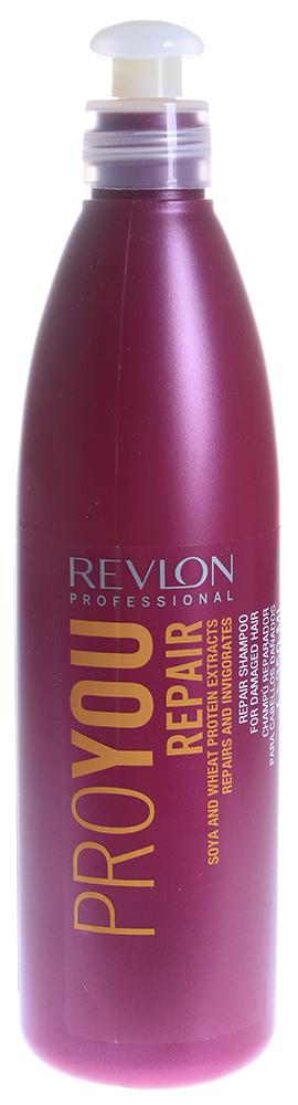 REVLON Шампунь восстанавливающий для волос / PROYOU PEPAIR 350млШампуни<br>Шампунь Pro You Revlon Professional восстанавливает и укрепляет кутикулу. Питание, реконструкция и защита волос. Простое восстановление естественной мягкости и блеска волос. Обеспечивает термальную защиту в целях предотвращения дегидратации волос. Восстанавливающий Шампунь Pro You содержит природные компоненты, которые не только улучшают внешний вид прядей, но и лечит их изнутри. Экстракт зародышей сои и протеины пшеницы содержат массу аминокислот и микроэлементов, которые наполняют волосяные луковицы энергией, витаминами и питательными веществами.  Активные ингредиенты:  Соя: Природный компонент экстракт сои проникает в кортекс, восстанавливает структуру волос изнутри, повышает прочность, эластичность и красоту. Восстанавливает структуру волос и стимулирует образование коллагена и эластина.  Протеины пшеницы: Кондиционирует с экранизацией. Защищает и восстанавливает кутикулу.  Способ применения: Нанесите небольшое количество Шампуня Pro You Repair Revlon Professional на влажные волосы. Помассируйте голову несколько минут, затем смойте теплой водой.<br><br>Вид средства для волос: Восстанавливающий