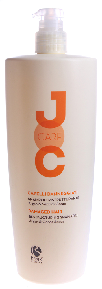 BAREX Шампунь Глубокое восстановление с Аргановым маслом и Какао бобами / JOC CARE 1000млШампуни<br>Глубоко питает и восстанавливает повреждённые и ослабленные волосы, придавая им сияние и укрепляя их. Волосы становятся невероятно мягкими, шелковистыми и легко поддаются укладке. Аргановое масло: мгновенно восстанавливает структуру волокон, уплотняя их и одновременно защищает волосы от негативного воздействия окружающей среды. Какао-бобы: благодаря входящему в их состав смягчающему маслу, этот шампунь является очень мягким очищающим средством. Активные ингредиенты: аргановое масло, какао-бобы, протеины пшеницы, кондиционирующие полимеры Способ применения: нанести шампунь на влажные волосы и кожу головы легкими массажными движениями до образования пены, оставить на несколько минут, затем смыть водой. Для достижения наилучших результатов, использовать вместе с МАСКОЙ ГЛУБОКОЕ ВОССТАНОВЛЕНИЕ JOC CARE.<br><br>Вид средства для волос: Восстанавливающий