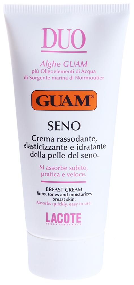GUAM Крем подтягивающий восстанавливающий для груди / DUO 150млКремы<br>Благодаря натуральным активным компонентам прекрасно питает, укрепляет и увлажняет кожу груди, предотвращает появление растяжек. Эффективно борется с признаками старения кожи. Обладает лёгким охлаждающим эффектом.  Активные ингредиенты: Экстракт бурой водоросли, морская вода Нуармутье, масло рисовое, масло сафлоровое, масло пенника лугового, оливковое масло гликозаминогликан, масло ши, экстракт грецкого ореха, экстракт центелы азиатской, ментол.  Способ применения: Наносить достаточное количество крема от основания груди к шее, два раза в день.<br><br>Объем: 150