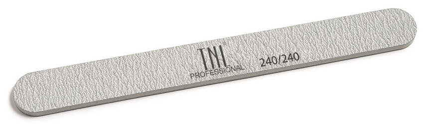 TNL PROFESSIONAL Пилка узкая для ногтей 240/240, серая (в индивидуальной упаковке)