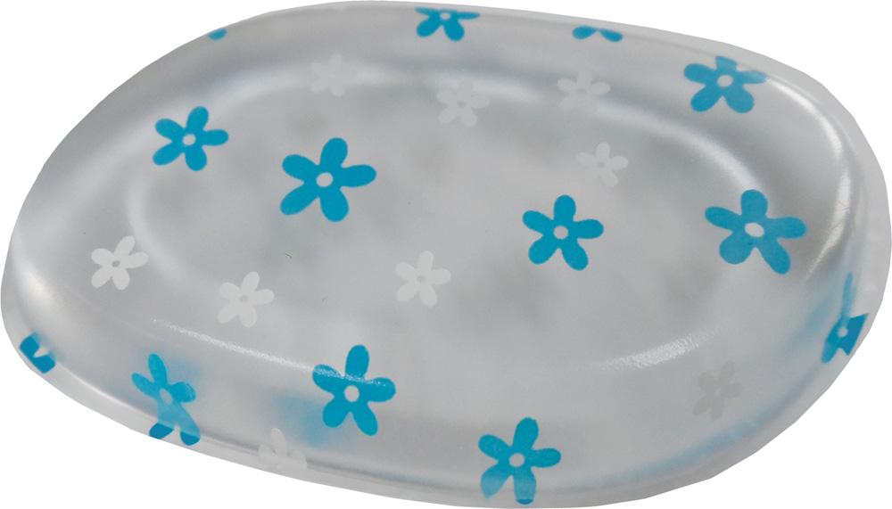 DEWAL BEAUTY Губка для нанесения макияжа, прозрачная с рисунком (голубые цветы) 1 шт