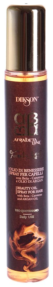 DIKSON Масло-спрей питающее суперлегкое / ARGABETA BEAUTY OILO LIGHT 100млСпреи<br>Питающее суперлёгкое масло-спрей Argabeta Beauty Oilo Light от Dikson - средство для интенсивного увлажнения сухих и поврежденных волос. Аргановое масло и бета-каротин, которые входят в состав средства обладают не только увлажняющим, но и антиоксидантным действием. После первого применения масла вы почувствуете, что волосы стали более послушными и эластичными. Спрей обволакивает каждый волос, склеивая чешуйки и устраняя секущиеся кончики. Также средство нормализует гидролипидный баланс кожи, препятствует потере цвета и защищает волосы от вредных УФ-лучей.  Активные ингредиенты: Масло арганы, бета-каротин.  Способ применения: Распылите средство 3-5 нажатиями на влажные или сухие волосы. Не смывайте<br><br>Тип: Масло-спрей<br>Вид средства для волос: Увлажняющий<br>Назначение: Секущиеся кончики
