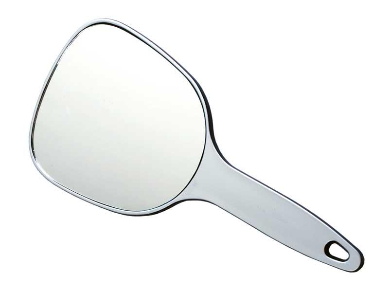 DEWAL PROFESSIONAL Зеркало косметическое с ручкой, пластик, серебристое 12х15 см -  Зеркала