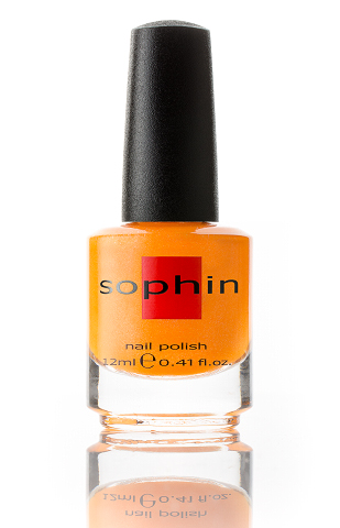 SOPHIN Лак для ногтей, апельсиновый неоновый с мелким шиммером 12мл