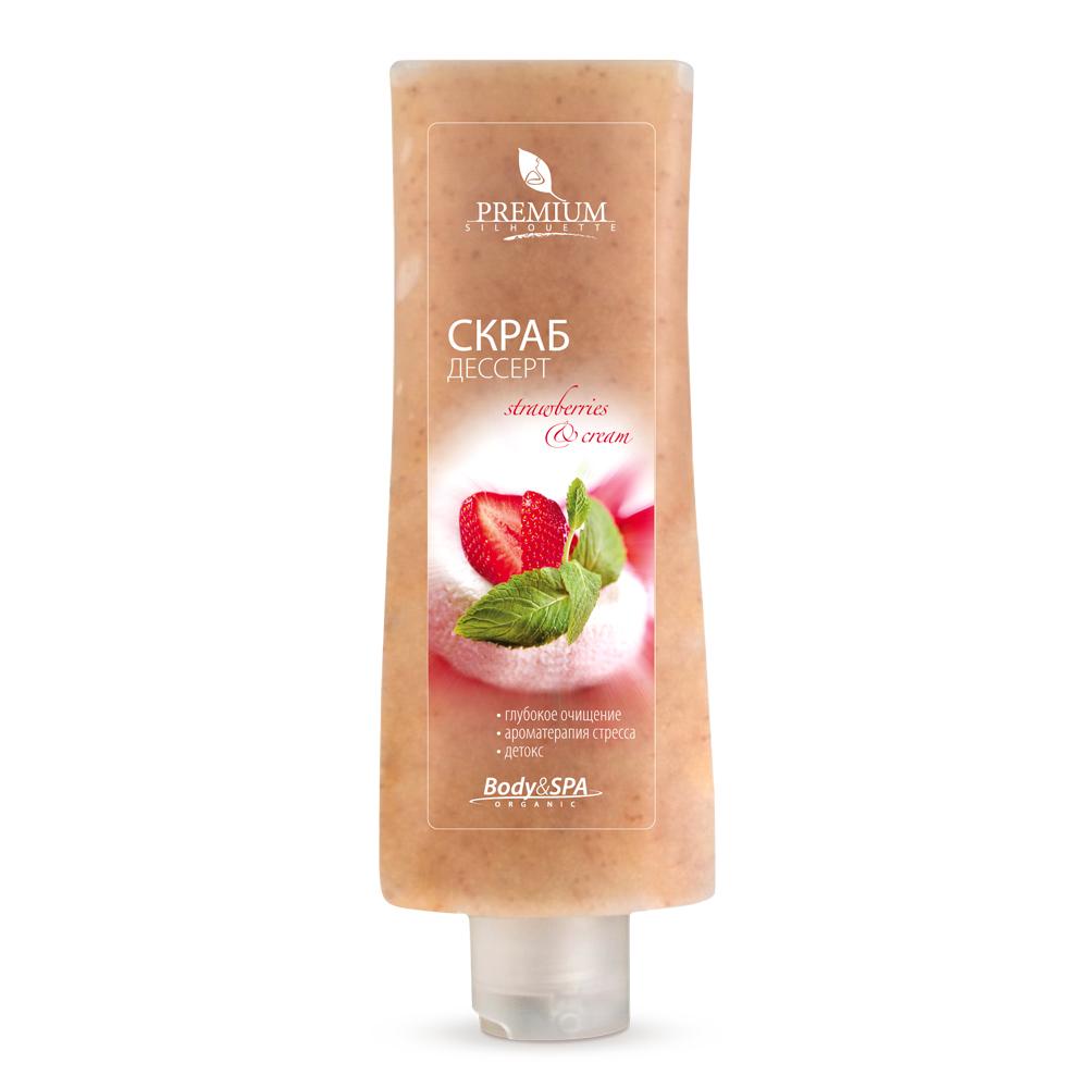 PREMIUM Скраб-десерт Strawberry &amp; Cream / Silhouette 200млСкрабы<br>Процедура глубокого очищения с клубнично-сливочным скрабом расслабляет нервно-рефлекторную систему кожи. Масло иланг-иланг стимулирует выработку гормона хорошего настроения - эндорфина. Масло апельсина способствует выведению токсинов. Воздействие абразива из морских водорослей и косточек клубники улучшает микроциркуляцию крови. Активные ингредиенты: косточки клубники, диатомовая земля, полиэтиленовые гранулы, эфирные масла: сладкого апельсина, иланг-иланг. Способ применения: нанести на предварительно очищенную кожу тела массируя, круговыми движениями снизу вверх. Смыть водой, затем нанести Аромамолочко. Применять 1-2 раза в неделю.<br><br>Объем: 200
