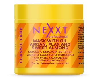 NEXXT professional Маска с маслом арганы, льна и сладкого миндаля / MASK WITH OIL ARGAN, FLAX AND SWEET 500мл масло kativa morocco argan oil nuspa масло