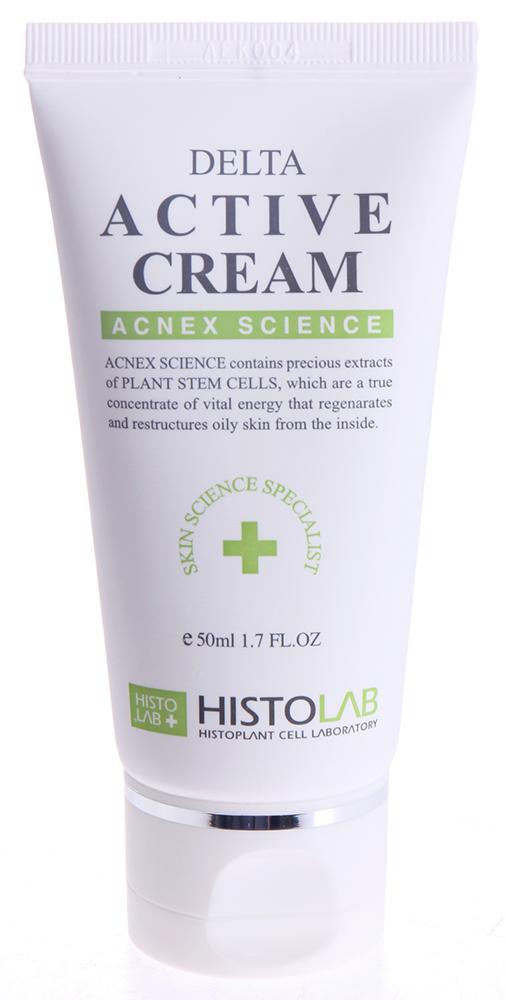 HISTOLAB Крем антибактериальный / Delta Active Cream ACNE SCIENCE 50млКремы<br>Заживляет, увлажняет, активизирует процесс восстановления кожи, снижает выраженность рубцов после акне, защищает кожу от обезвоживания, смягчает и питает. Обладает противовоспалительным, бактерицидным, антиоксидантным, ранозаживляющим, регенерирующим и витаминизирующим действием. Подходит для жирной и проблемной кожи. Активные ингредиенты: культуры каллусных клеток (томат, рис), экстракты прострела корейского, уснеи, плодов японского перца, плодов понцируса трехлисточкового, плюща обыкновенного, центеллы азиатской, корня софоры, вода цветка лотоса, сок алое-вера, триклозан, бета-глюкан, бетаин, пчелиный воск, диметикон. Способ применения: после применения увлажняющей сыворотки нанесите крем на лицо, шею и мягко массируйте до полного впитывания. Домашний уход для утреннего и вечернего использования.<br><br>Класс косметики: Домашняя<br>Назначение: Акне, постакне